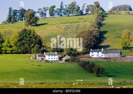 Farm houses in the Lake District England United Kingdom - Stock Photo