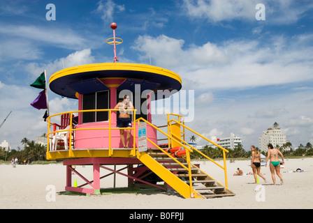 Art deco beach patrol station on South Beach Miami Florida USA - Stock Photo