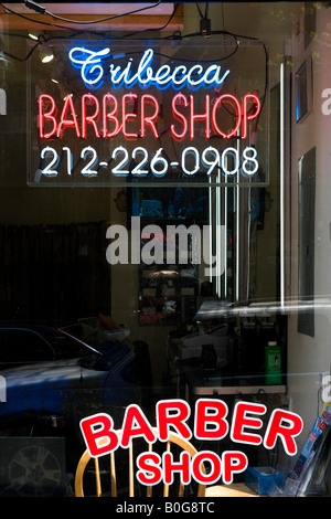 Barber Shop in Tribeca, Lower Manhattan, NYC, New York City - Stock Photo