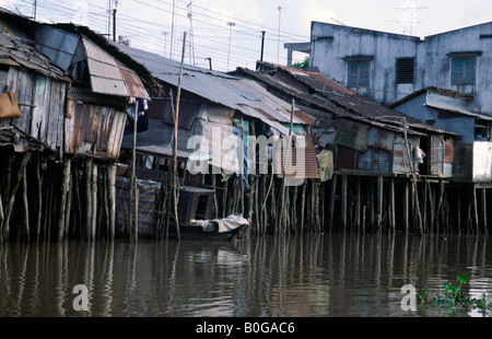 Feb 3, 2003 - Elevated settlement in the Mekong Delta of South Vietnam. - Stock Photo