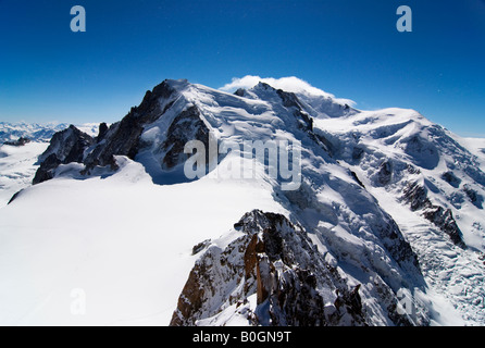 Cosmiques arete, Mont Blanc du Tacul, Mont Maudit, Mont Blanc and Dome du Gôuter as seen from Aiguille du Midi, - Stock Photo
