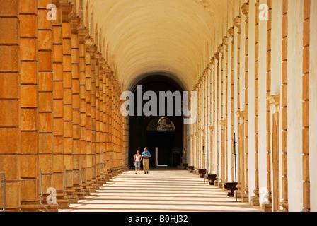 Colonnade, La Certosa di Peduale Monastery, Padula, province of Salerno, Campania, South Italy, Italy, Europe - Stock Photo