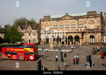 view over exhibition square with the city art gallery and a city sightseeing bus york north yorkshire england uk - Stock Photo