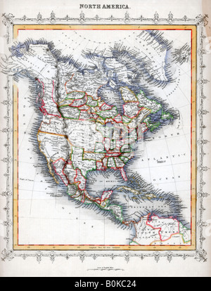 Map of North America. Artist: Unknown - Stock Photo