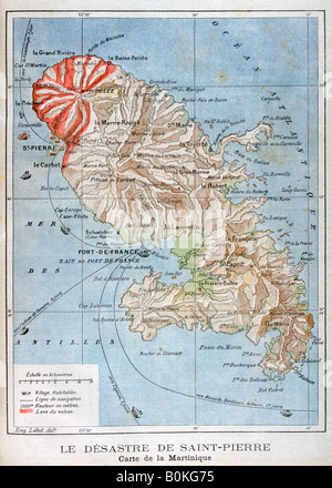 Map showing the eruption of Mount Pelee, Martinique, 1902. Artist: Unknown - Stock Photo