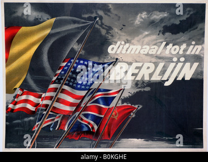 'This Time until in Berlin', Belgian pro-Allied propaganda poster, 1944. Artist: Unknown - Stock Photo
