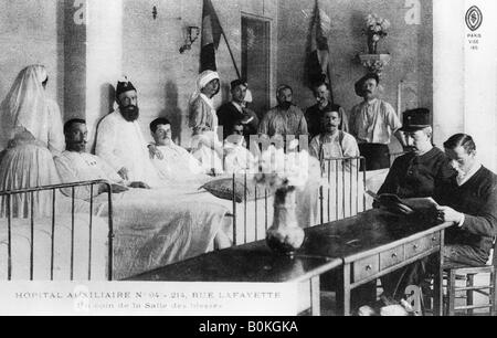 French wounded, auxiliary hospital, Paris, France, World War I, 1914-1918. Artist: Unknown - Stock Photo