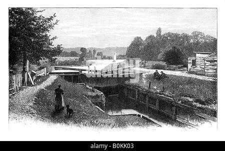 Old Windsor Lock, River Thames, Berkshire, c1888. Artist: Unknown - Stock Photo