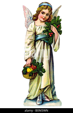 smiling children angel white dress mistletoe red berries basket apples fir branches 19th century Germany - Stock Photo