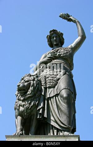Die Bavaria in Muenchen, Germany, Munich, Bavaria statue - Stock Photo