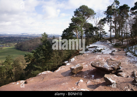 View of Alderley Edge and the Cheshire plain from Alderley Edge, after light snow. Cheshire UK. - Stock Photo