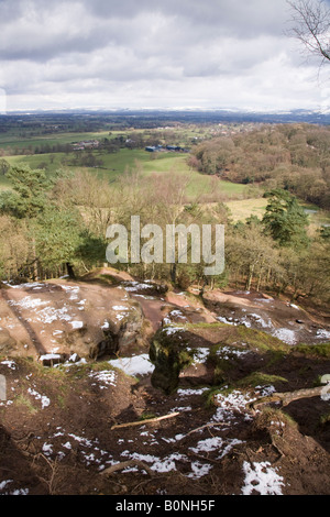 The view of the Cheshire plain from Alderley Edge, after light snow. Cheshire UK. - Stock Photo