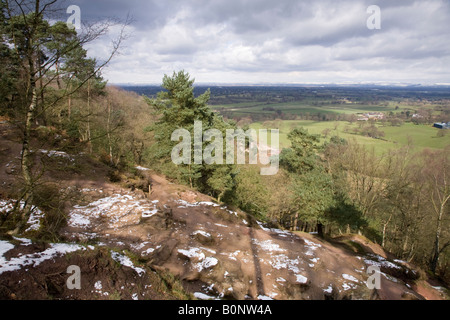 The view of the Alderley Edge and the Cheshire plain from Alderley Edge, after light snow. Cheshire UK. - Stock Photo