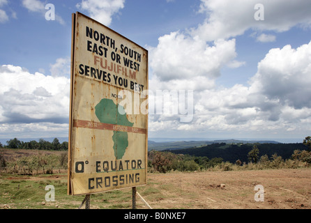 equator sign at the roadside Kenya Central Equator - Stock Photo