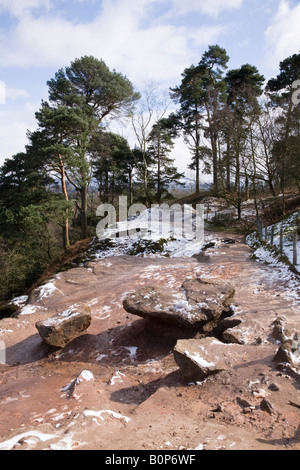 View of Alderley Edge after light snow. Cheshire UK. - Stock Photo