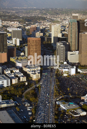 aerial above heavy afternoon traffic on interstate 5 downtown Los Angeles looking to the north - Stock Photo