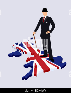 Stereotypical British gentleman standing on a British flag in the shape of Great Britain - Stock Photo