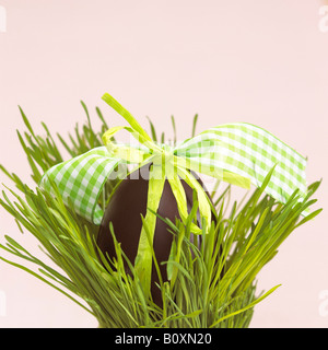 Easter nest with chocolate egg - Stock Photo