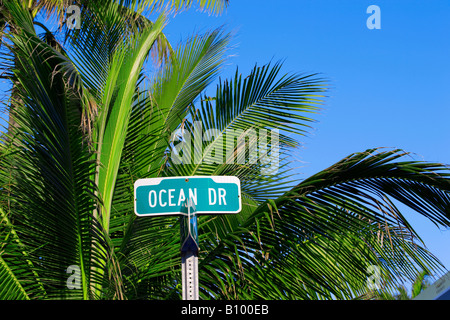 Street sign for Ocean Drive in South Beach, Miami Beach, Florida - Stock Photo