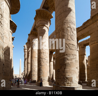 Pillars in the Great Hypostyle Hall and Hatshepsut's Obelisk, Precinct of Amun, Temple of Karnak, Luxor, Nile Valley, - Stock Photo