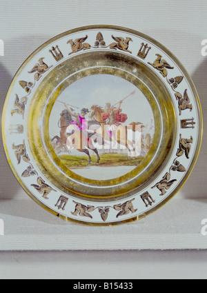 fine arts, porcelain, plate, series by Stone, Coquerel, Le Gros, diameter 22 cm, Paris, France, circa 1810, Munich - Stock Photo
