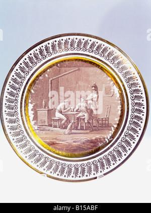 fine arts, porcelain, plate, series 'Campaign scenes and camp life', diameter 23.5 cm, sepia painting, Sevres porcelain - Stock Photo