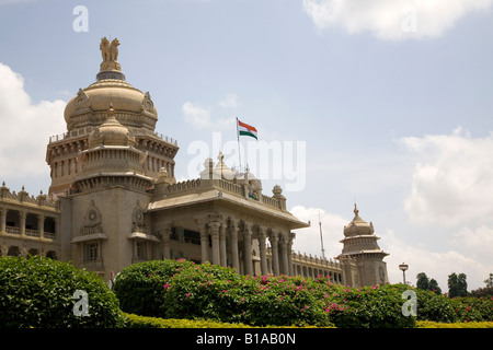 The Vidhana Soudha, the Karnataka state legislative assembley, in Bangalore. It is the largest state assembly building - Stock Photo