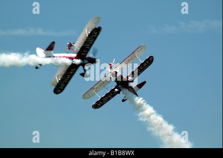 Team Guinot,  the world's only formation wingwalking team in action at the 2008 Biggin Hill International Air Fair - Stock Photo