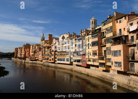 City apartments overlooking the River Onyar in Girona Spain Europe - Stock Photo
