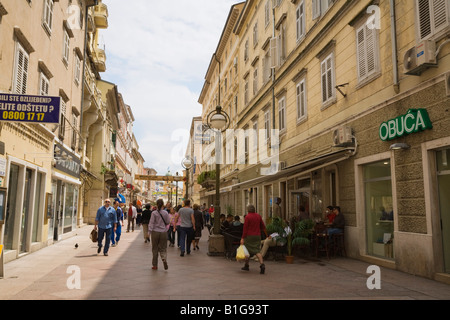 Rijeka Croatia Europe Shops cafe and buildings in pedestrianised Korzo Street busy with people in town centre - Stock Photo