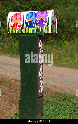 Unusual Whimsical Artistic Folk Art Flower Mailbox on North Pender Island, Southern Gulf Islands, BC, British Columbia, - Stock Photo