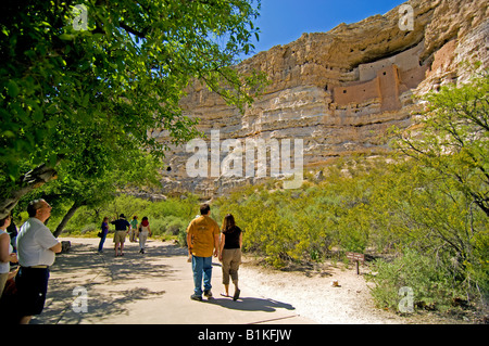 Tourists at  the cliff dwelling at Montezuma's Castle  near Campe Verde Arizona - Stock Photo