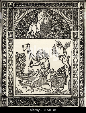 Facsimile of Illustration of the Fable of the Woodcutter and the Axe from Esopi Vita et Fabulae printed Naples 1485 - Stock Photo