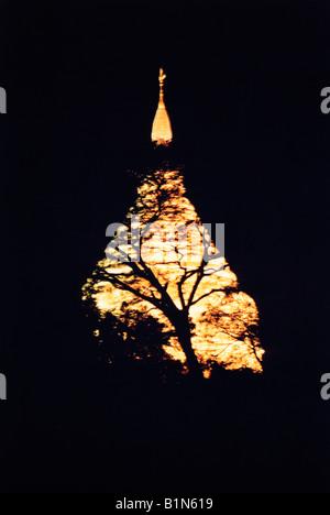 Myanmar Burma Nyaung-U Bagan Shwezigon Paya Temple Lit Up At Night - Stock Photo