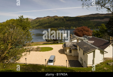 The Lodge Hotel an arts and crafts villa located at the head of Loch Goil, Argyll, Scotland, UK - Stock Photo