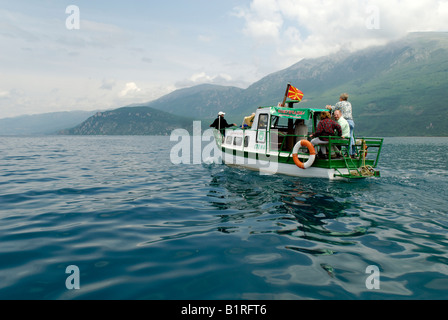 Excursion boat on Lake Ohrid, UNESCO World Heritage Site, Macedonia, FYROM, Former Yugoslav Republic of Macedonia, - Stock Photo