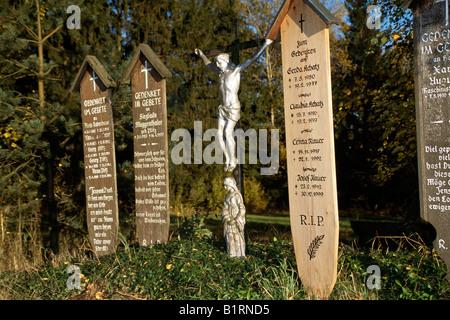 Memorial tablets, Bavarian Forest, Bavaria, Germany - Stock Photo