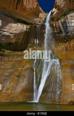 Small waterfall, Lower Calf Creek, Grand Staircase-Escalante National Monument, Utah, USA - Stock Photo