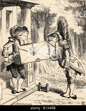 Fish Footman Illustration by John Tenniel from the book Alices s Adventures in Wonderland by Lewis Carroll published - Stock Photo