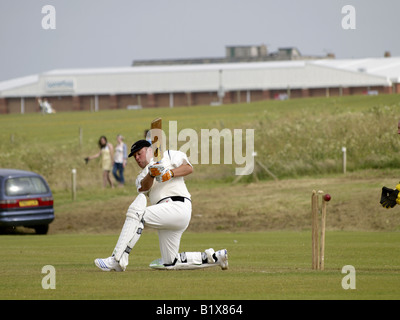 Bude batsman being bowled out in an amateur cricket match against Tregony 28 06 08 - Stock Photo