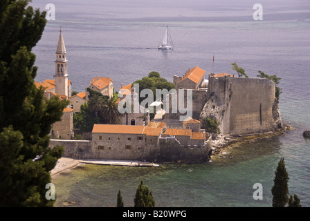 Budva Old Town fort and walls on Adriatic coast of Montenegro - Stock Photo
