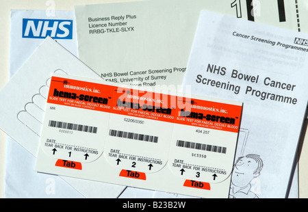 NHS bowel cancer screening programme kit - Stock Photo