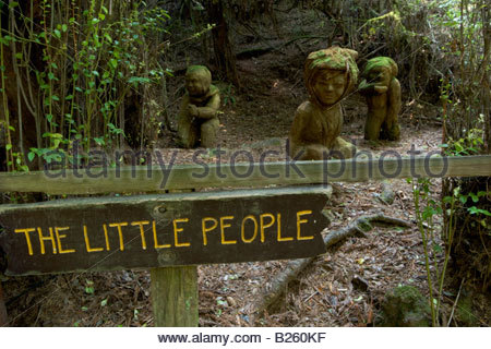 The Little People Redwood Sculptures at The Trees of Mystery Klamath California - Stock Photo