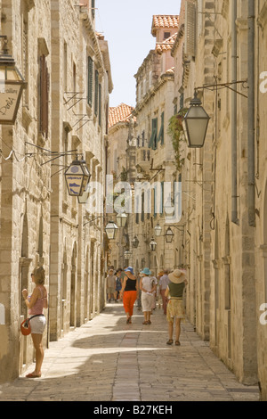 Dubrovnik Old Town, narrow shopping street of Od Puca, near Gundulic's Square - Stock Photo