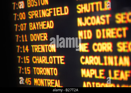 Close up of transportation time table, New York, United States - Stock Photo