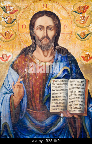 Icon in Agia Kyriaki Chrysopolitissa Church built on the site of an Early Christian Basilica at Kato Pafos, Cyprus - Stock Photo