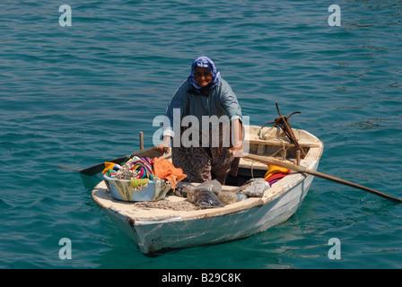 Floating saleswoman Kapitas beach near Kas Turkey Ref ZB689 112131 0079 COMPULSORY CREDIT World Pictures Photoshot - Stock Photo