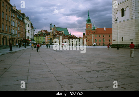 July 8, 2008 - Royal Castle and Zygmunt's column at Plac Zamkowy in the Polish capital of Warsaw. - Stock Photo
