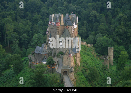 High angle view of castle surrounded by forest, Eltz Castle, Eifel, Rhineland-Palatinate, Germany - Stock Photo