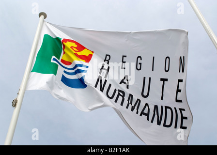 Haute Normandie flag flying northern France Europe - Stock Photo